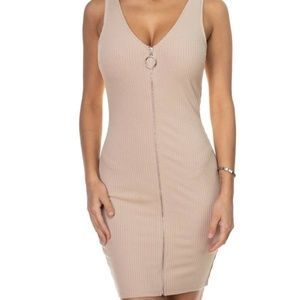 🌸O-ring Front Zipper Up Mini Dress